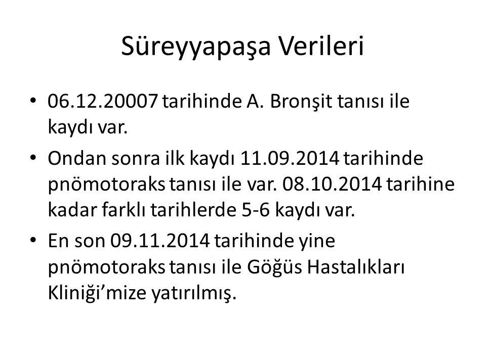 Süreyyapaşa Verileri 06.12.20007 tarihinde A. Bronşit tanısı ile kaydı var. Ondan sonra ilk kaydı 11.09.2014 tarihinde pnömotoraks tanısı ile var. 08.