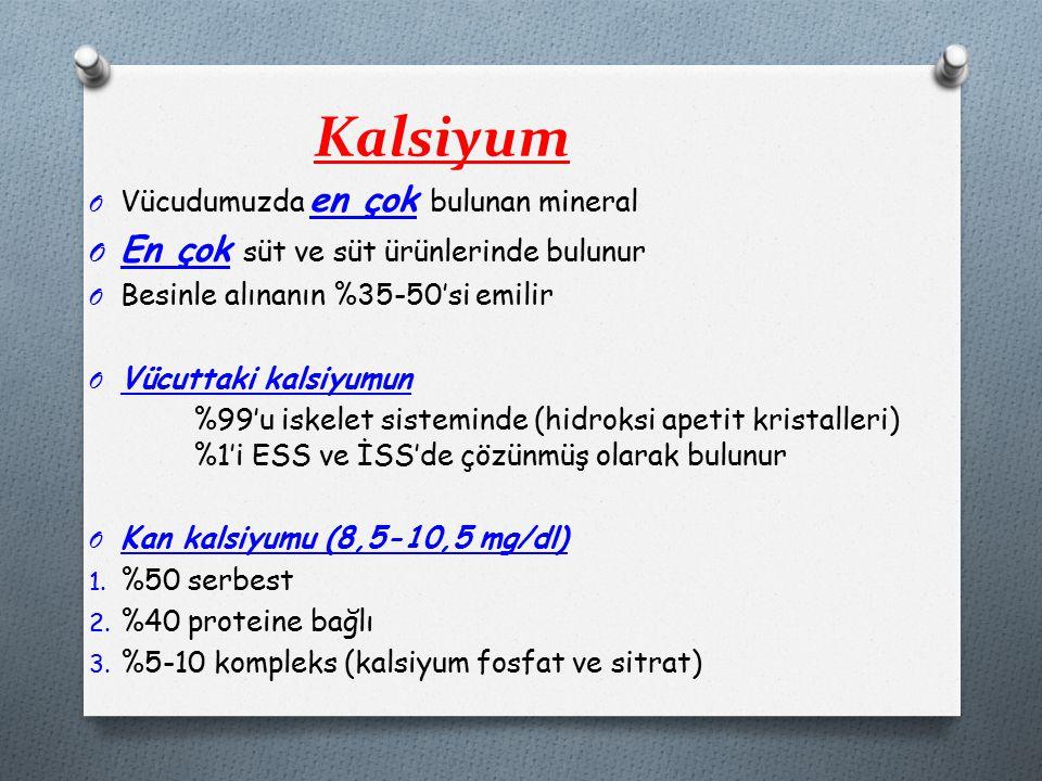 Kalsiyum O Vücudumuzda en çok bulunan mineral O En çok süt ve süt ürünlerinde bulunur O Besinle alınanın %35-50'si emilir O Vücuttaki kalsiyumun %99'u iskelet sisteminde (hidroksi apetit kristalleri) %1'i ESS ve İSS'de çözünmüş olarak bulunur O Kan kalsiyumu (8,5-10,5 mg/dl) 1.