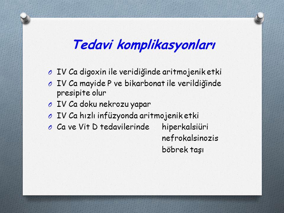 Tedavi komplikasyonları O IV Ca digoxin ile veridiğinde aritmojenik etki O IV Ca mayide P ve bikarbonat ile verildiğinde presipite olur O IV Ca doku nekrozu yapar O IV Ca hızlı infüzyonda aritmojenik etki O Ca ve Vit D tedavilerinde hiperkalsiüri nefrokalsinozis böbrek taşı