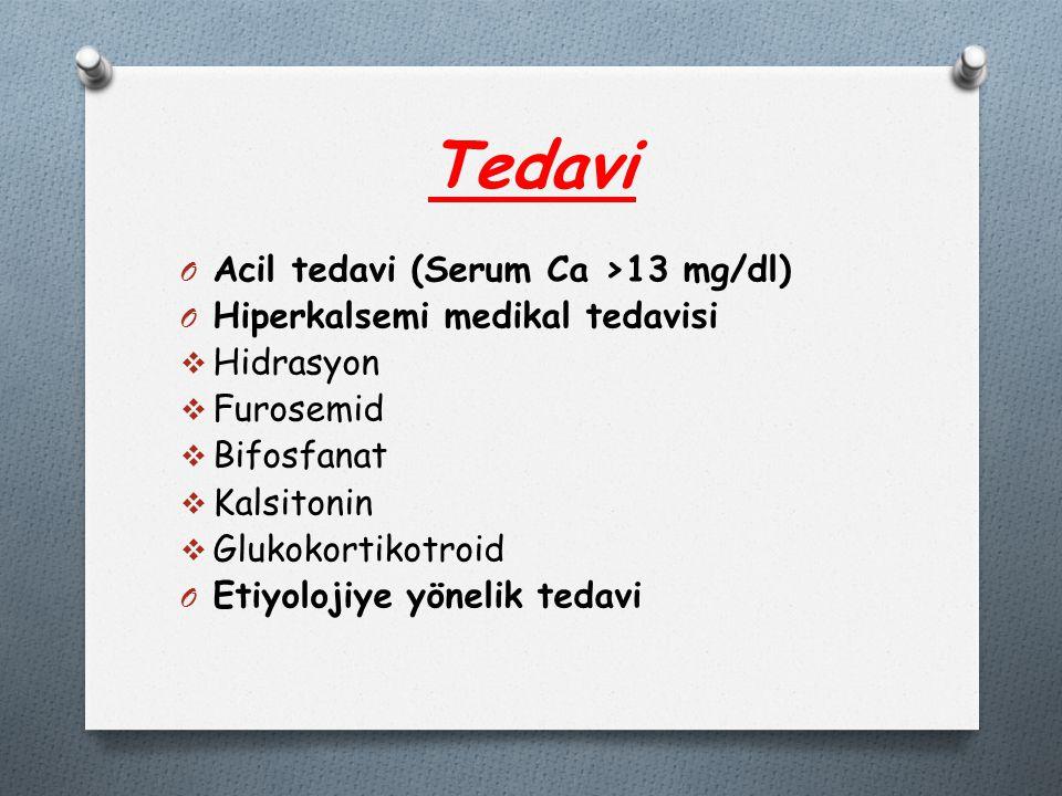 Tedavi O Acil tedavi (Serum Ca >13 mg/dl) O Hiperkalsemi medikal tedavisi  Hidrasyon  Furosemid  Bifosfanat  Kalsitonin  Glukokortikotroid O Etiyolojiye yönelik tedavi