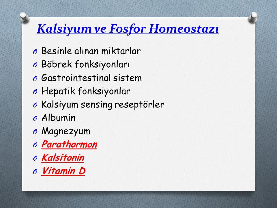 Kalsiyum ve Fosfor Homeostazı O Besinle alınan miktarlar O Böbrek fonksiyonları O Gastrointestinal sistem O Hepatik fonksiyonlar O Kalsiyum sensing reseptörler O Albumin O Magnezyum O Parathormon O Kalsitonin O Vitamin D