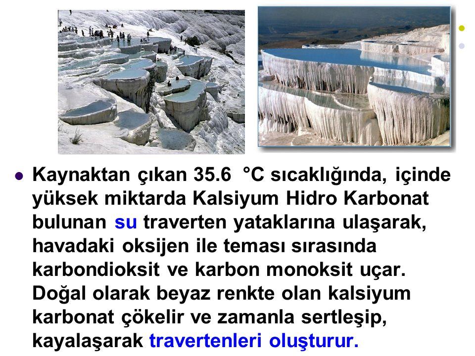 Kaynaktan çıkan 35.6 °C sıcaklığında, içinde yüksek miktarda Kalsiyum Hidro Karbonat bulunan su traverten yataklarına ulaşarak, havadaki oksijen ile t