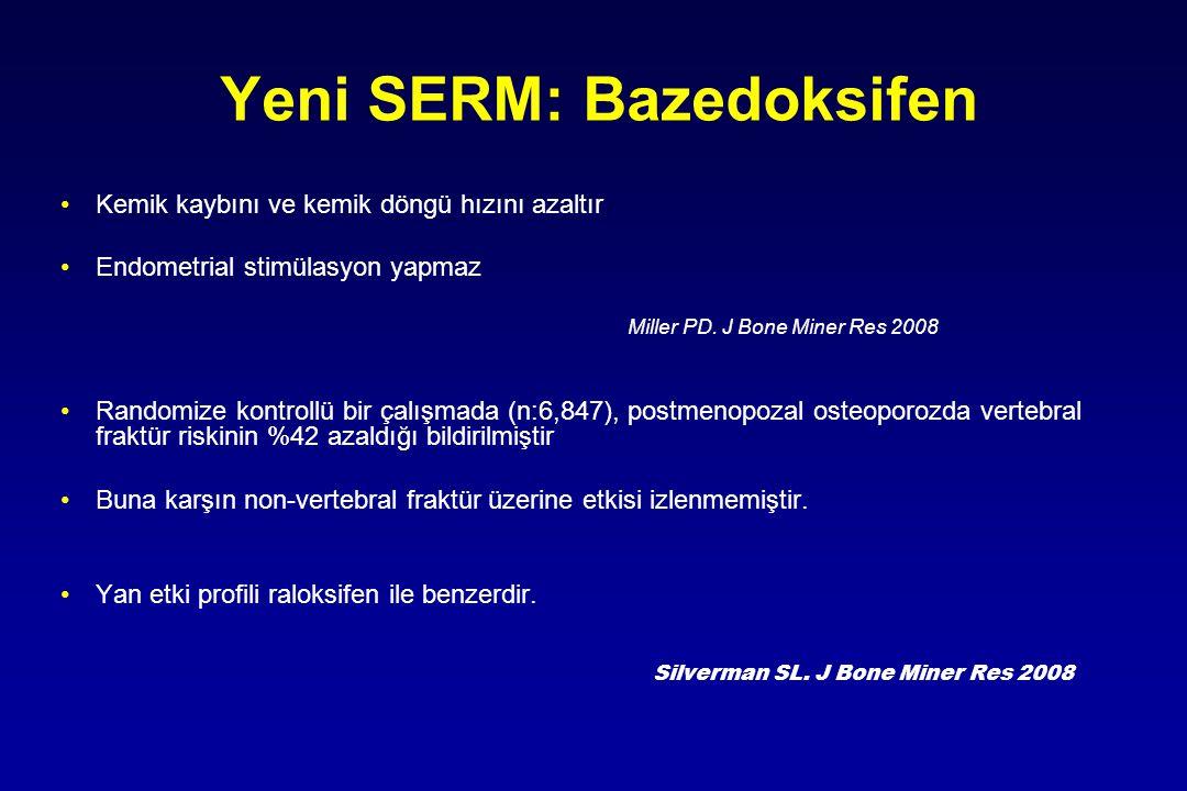 Kemik kaybını ve kemik döngü hızını azaltır Endometrial stimülasyon yapmaz Miller PD. J Bone Miner Res 2008 Randomize kontrollü bir çalışmada (n:6,847