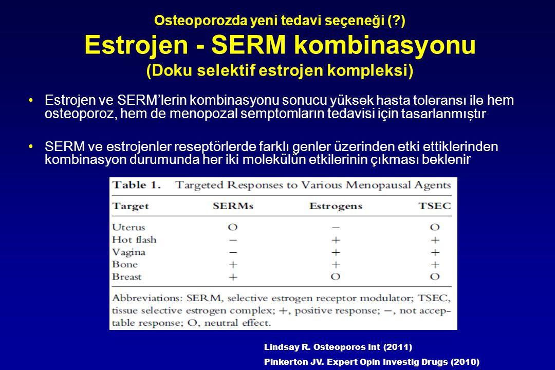 Osteoporozda yeni tedavi seçeneği (?) Estrojen - SERM kombinasyonu (Doku selektif estrojen kompleksi) Estrojen ve SERM'lerin kombinasyonu sonucu yükse