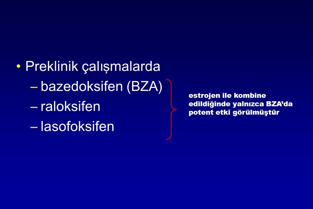P reklinik çalışmalarda –bazedoksifen (BZA) –raloksifen –lasofoksifen estrojen ile kombine edildiğinde yalnızca BZA'da potent etki görülmüştür