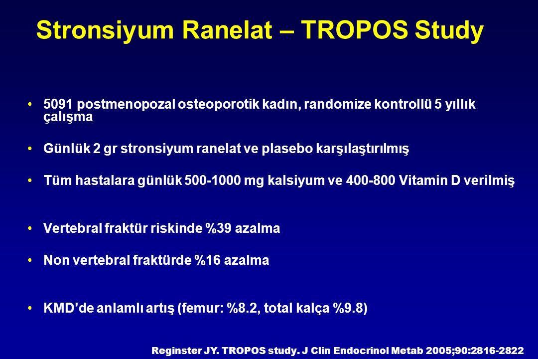 5091 postmenopozal osteoporotik kadın, randomize kontrollü 5 yıllık çalışma Günlük 2 gr stronsiyum ranelat ve plasebo karşılaştırılmış Tüm hastalara g