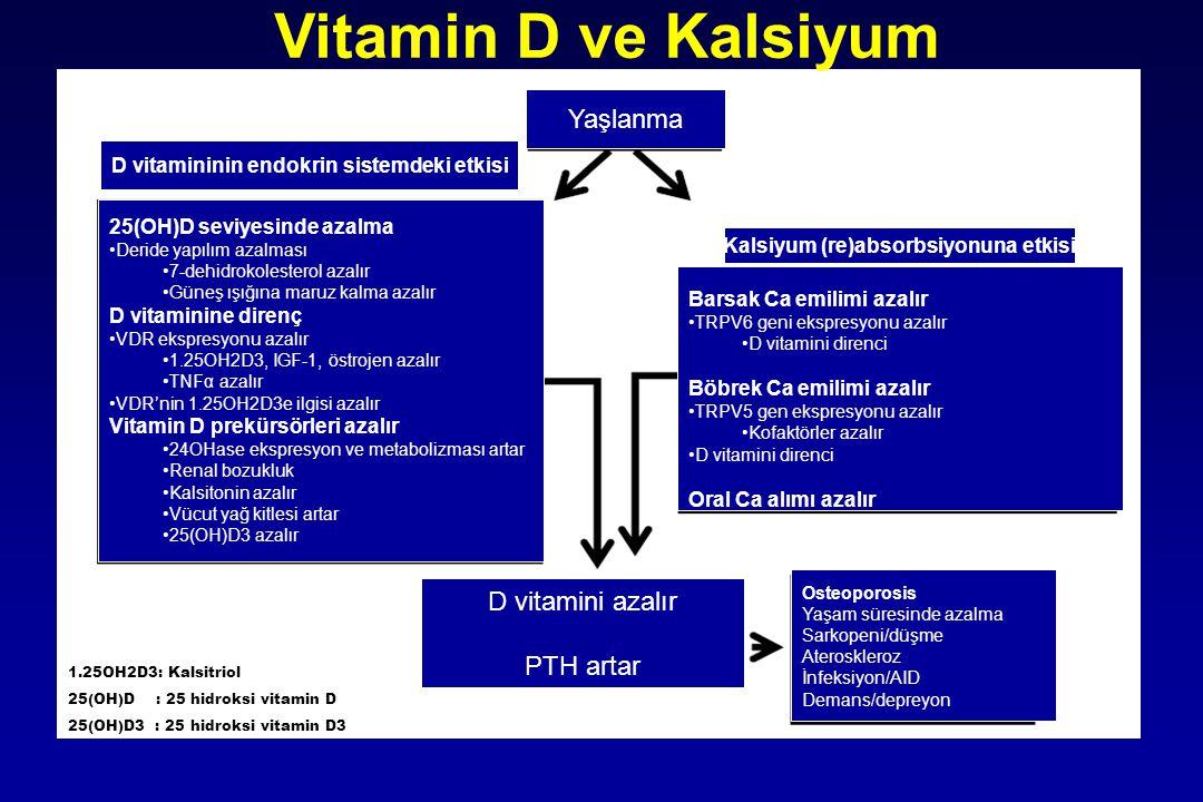 25(OH)D seviyesinde azalma Deride yapılım azalması 7-dehidrokolesterol azalır Güneş ışığına maruz kalma azalır D vitaminine direnç VDR ekspresyonu aza
