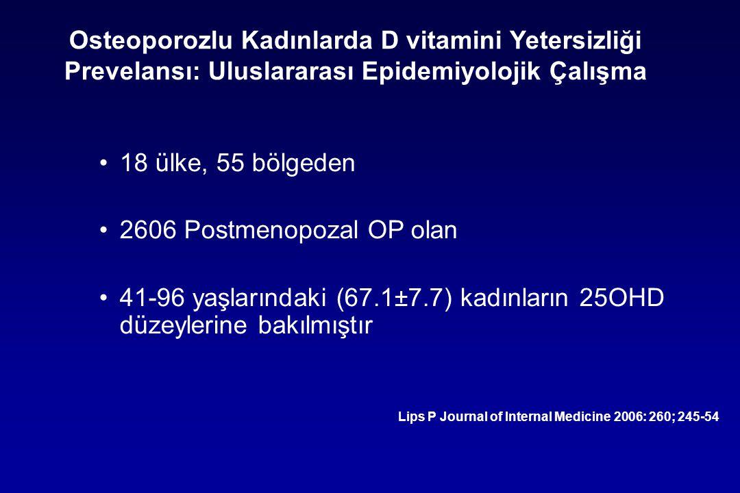Osteoporozlu Kadınlarda D vitamini Yetersizliği Prevelansı: Uluslararası Epidemiyolojik Çalışma 18 ülke, 55 bölgeden 2606 Postmenopozal OP olan 41-96