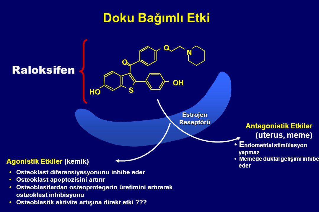 Doku Bağımlı Etki Antagonistik Etkiler (uterus, meme) E ndometrial stimülasyon yapmaz Memede duktal gelişimi inhibe eder Agonistik Etkiler (kemik) Est