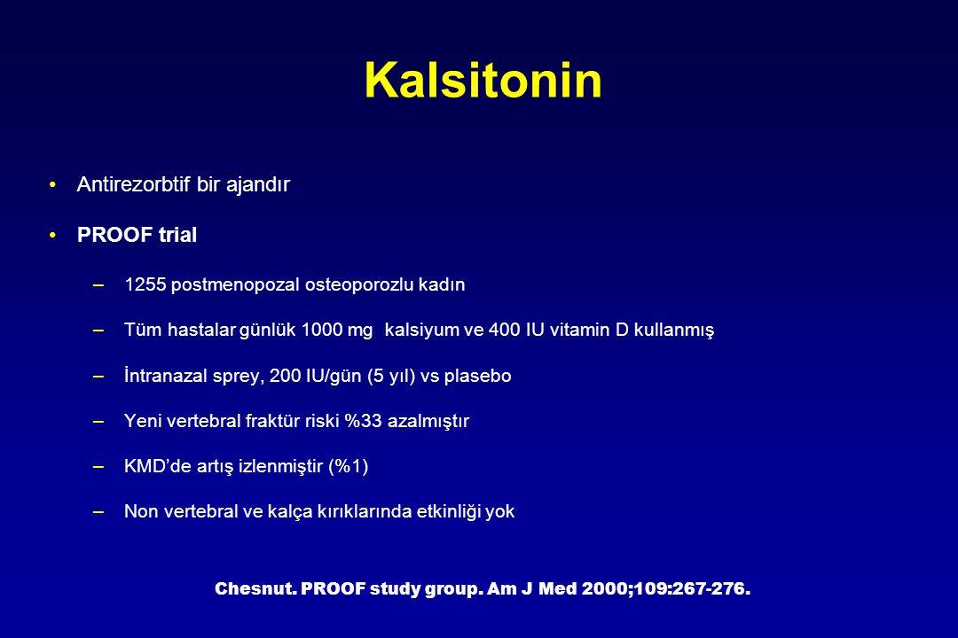 Kalsitonin Antirezorbtif bir ajandır PROOF trial –1255 postmenopozal osteoporozlu kadın –Tüm hastalar günlük 1000 mg kalsiyum ve 400 IU vitamin D kull