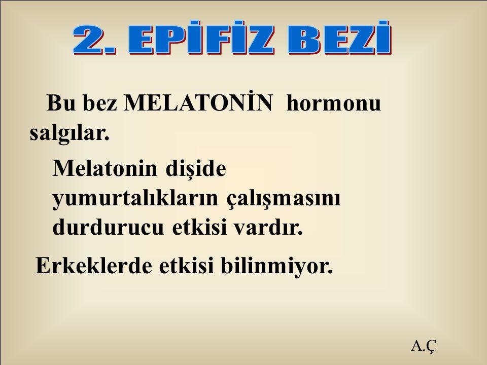 A.Ç Bu bez MELATONİN hormonu salgılar. Melatonin dişide yumurtalıkların çalışmasını durdurucu etkisi vardır. Erkeklerde etkisi bilinmiyor.