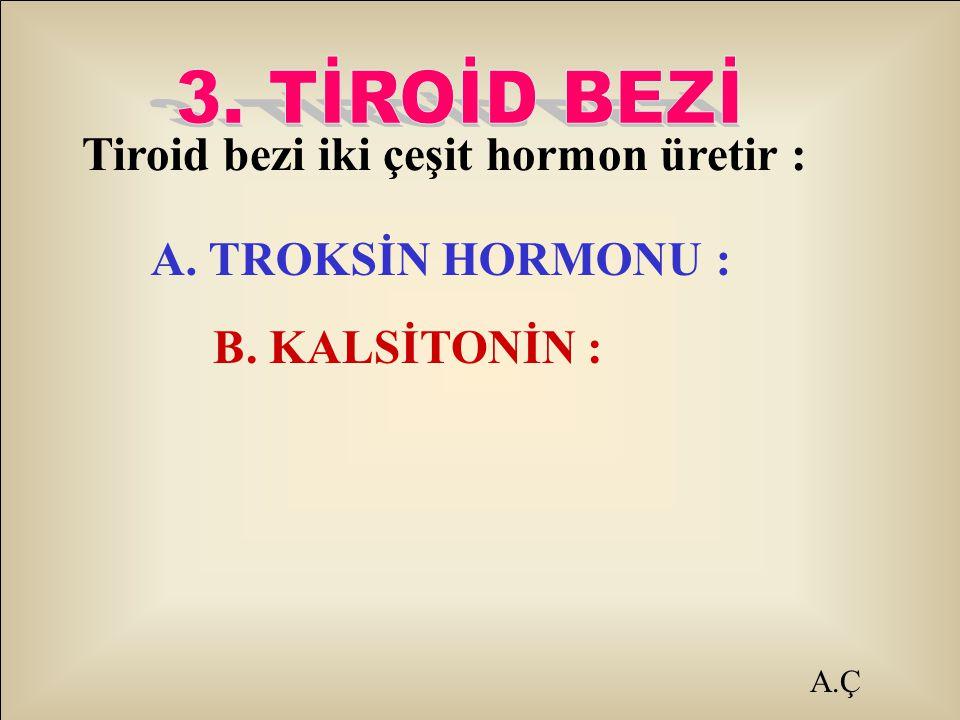 Tiroid bezi iki çeşit hormon üretir : A. TROKSİN HORMONU : B. KALSİTONİN :