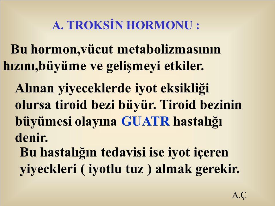 A.Ç A. TROKSİN HORMONU : Bu hormon,vücut metabolizmasının hızını,büyüme ve gelişmeyi etkiler. Alınan yiyeceklerde iyot eksikliği olursa tiroid bezi bü