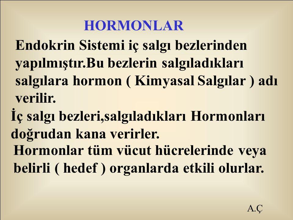 A.Ç HORMONLAR Endokrin Sistemi iç salgı bezlerinden yapılmıştır.Bu bezlerin salgıladıkları salgılara hormon ( Kimyasal Salgılar ) adı verilir. İç salg