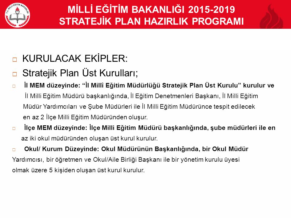 """MİLLİ EĞİTİM BAKANLIĞI 2015-2019 STRATEJİK PLAN HAZIRLIK PROGRAMI  KURULACAK EKİPLER:  Stratejik Plan Üst Kurulları;  İl MEM düzeyinde: """"İl Millî E"""