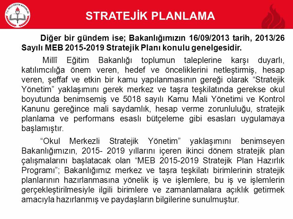 STRATEJİK PLANLAMA Diğer bir gündem ise; Bakanlığımızın 16/09/2013 tarih, 2013/26 Sayılı MEB 2015-2019 Stratejik Planı konulu genelgesidir. Millî Eğit