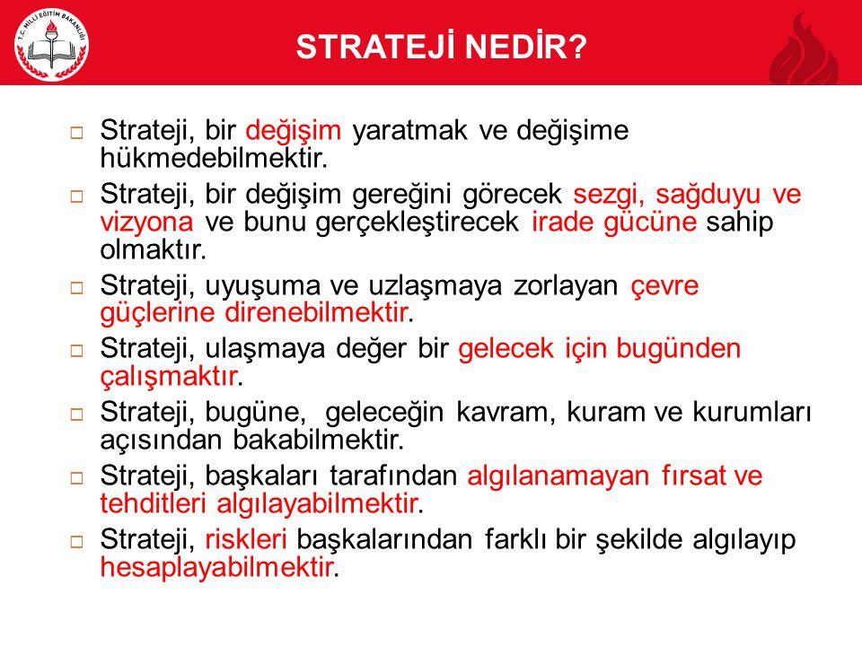 STRATEJİ NEDİR?  Strateji, bir değişim yaratmak ve değişime hükmedebilmektir.  Strateji, bir değişim gereğini görecek sezgi, sağduyu ve vizyona ve b
