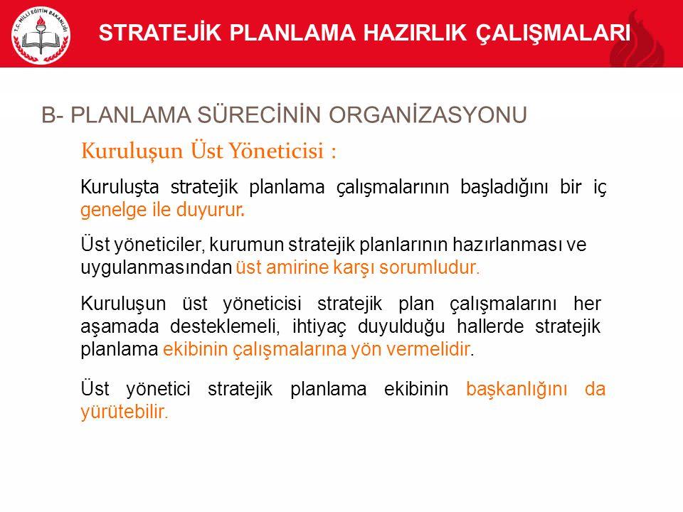 B- PLANLAMA SÜRECİNİN ORGANİZASYONU STRATEJİK PLANLAMA HAZIRLIK ÇALIŞMALARI Kuruluşun Üst Yöneticisi : Kuruluşta stratejik planlama çalışmalarının baş