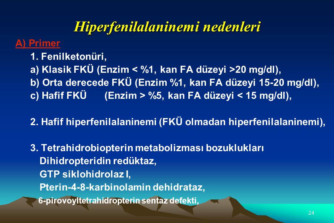 Hiperfenilalaninemi nedenleri A) Primer 1. Fenilketonüri, a) Klasik FKÜ (Enzim 20 mg/dl), b) Orta derecede FKÜ (Enzim %1, kan FA düzeyi 15-20 mg/dl),