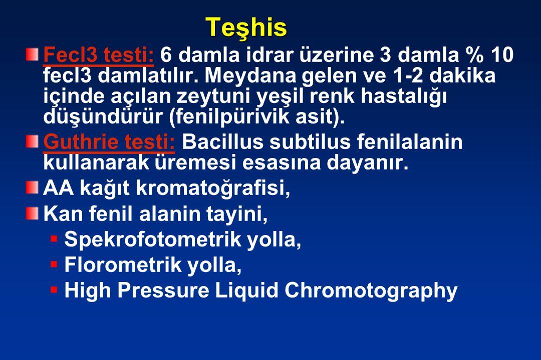Teşhis Fecl3 testi: 6 damla idrar üzerine 3 damla % 10 fecl3 damlatılır. Meydana gelen ve 1-2 dakika içinde açılan zeytuni yeşil renk hastalığı düşünd