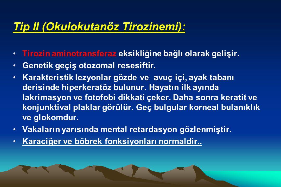 Tip II (Okulokutanöz Tirozinemi): Tirozin aminotransferaz eksikliğine bağlı olarak gelişir. Genetik geçiş otozomal resesiftir. Karakteristik lezyonlar