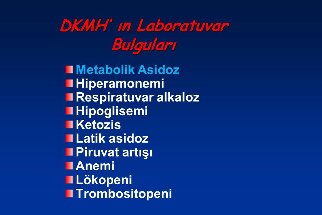 DKMH' ın Laboratuvar Bulguları Metabolik Asidoz Hiperamonemi Respiratuvar alkaloz Hipoglisemi Ketozis Latik asidoz Piruvat artışı Anemi Lökopeni Tromb