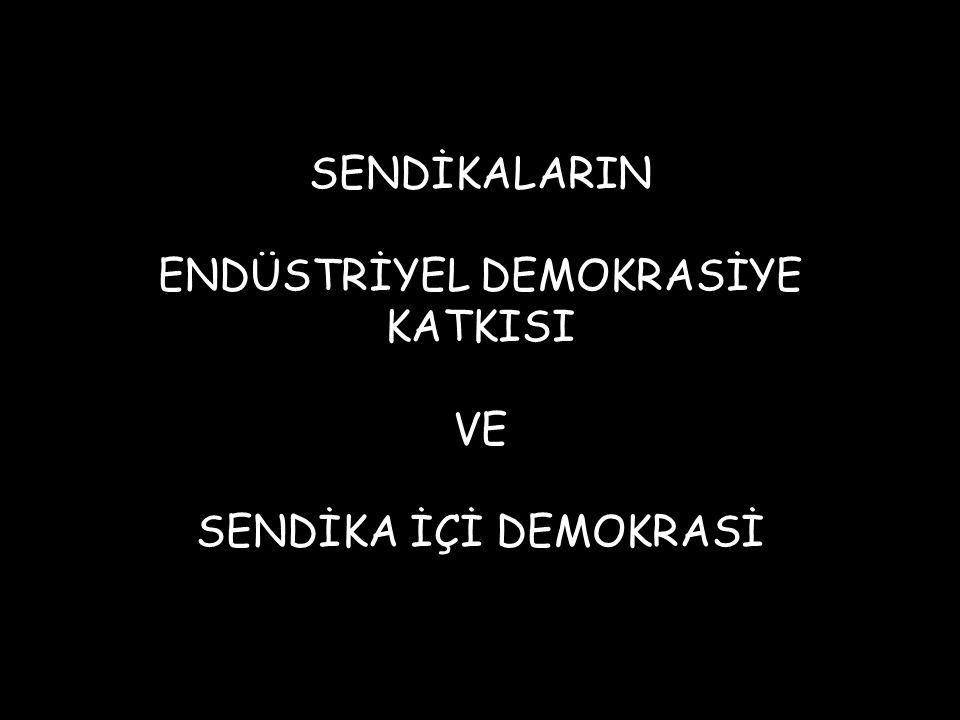SENDİKALARIN ENDÜSTRİYEL DEMOKRASİYE KATKISI VE SENDİKA İÇİ DEMOKRASİ
