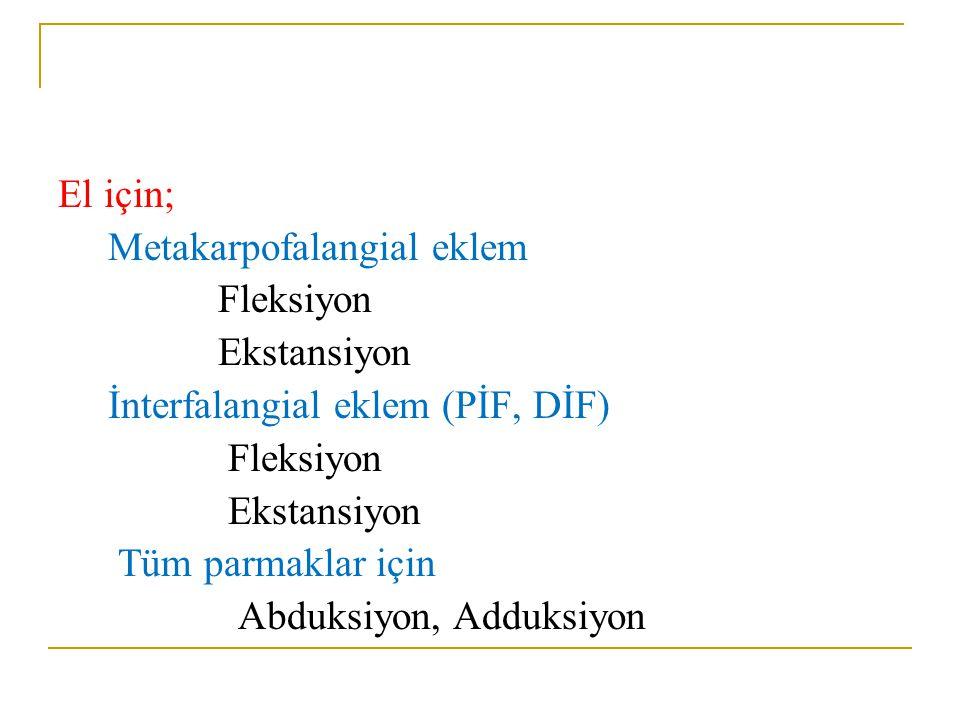 El için; Metakarpofalangial eklem Fleksiyon Ekstansiyon İnterfalangial eklem (PİF, DİF) Fleksiyon Ekstansiyon Tüm parmaklar için Abduksiyon, Adduksiyo