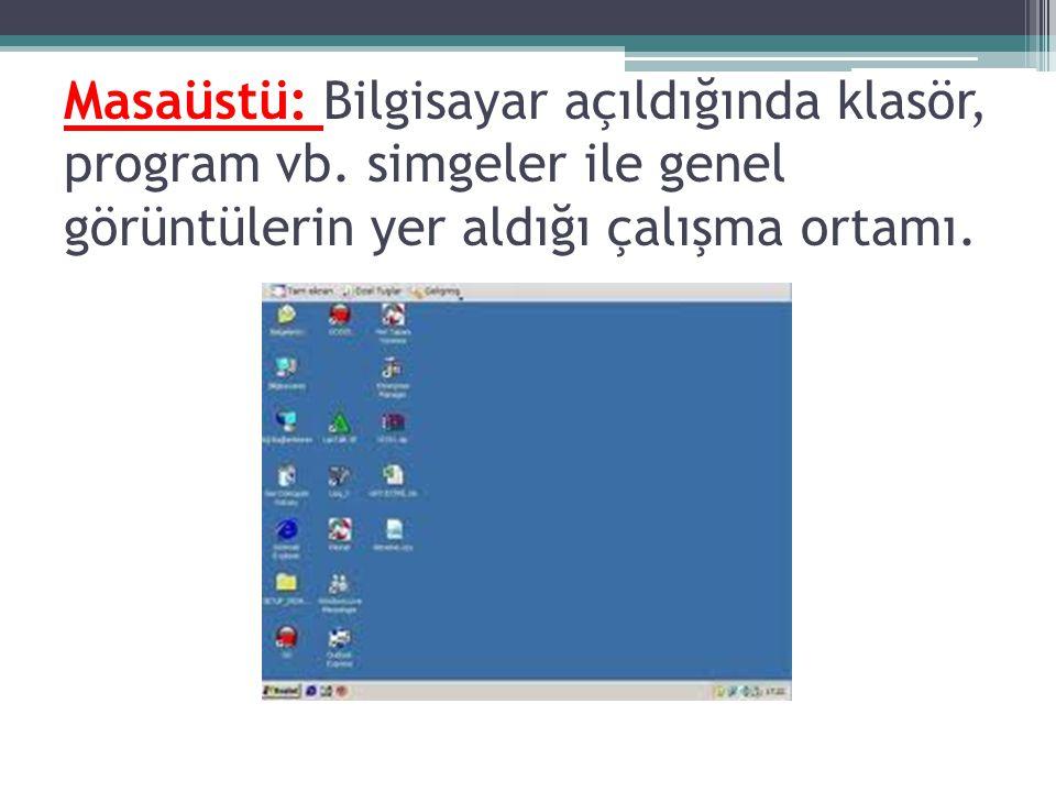 Masaüstü: Bilgisayar açıldığında klasör, program vb. simgeler ile genel görüntülerin yer aldığı çalışma ortamı.