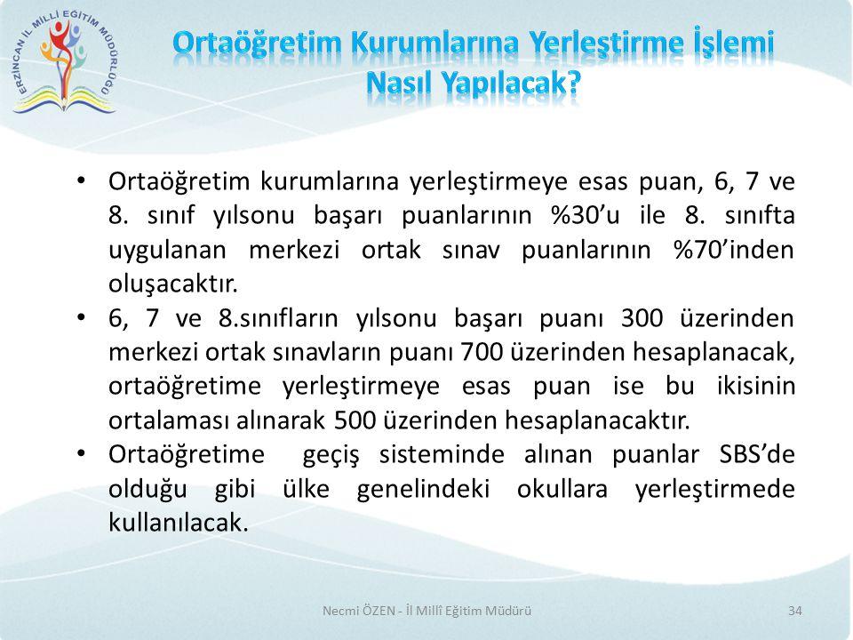 Necmi ÖZEN - İl Millî Eğitim Müdürü34 Ortaöğretim kurumlarına yerleştirmeye esas puan, 6, 7 ve 8.