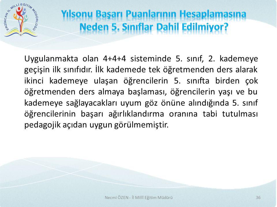 Necmi ÖZEN - İl Millî Eğitim Müdürü36 Uygulanmakta olan 4+4+4 sisteminde 5.
