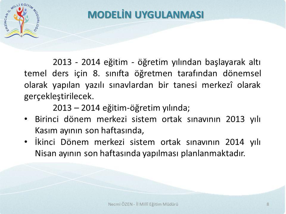 MODELİN UYGULANMASI Necmi ÖZEN - İl Millî Eğitim Müdürü8 2013 - 2014 eğitim - öğretim yılından başlayarak altı temel ders için 8.