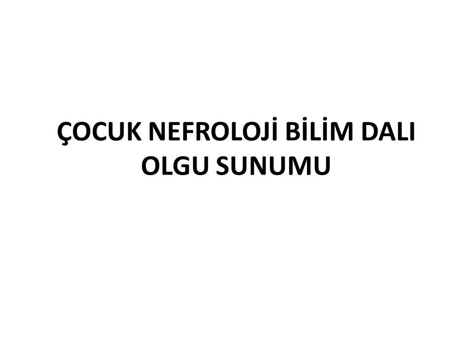 Albumin: 4.2 g/dl İdrar sedimenti: Lökosit Φ Eritrosit Φ Periferik yayma: Atipik hücre Φ Renal Doppler USG: Normal.