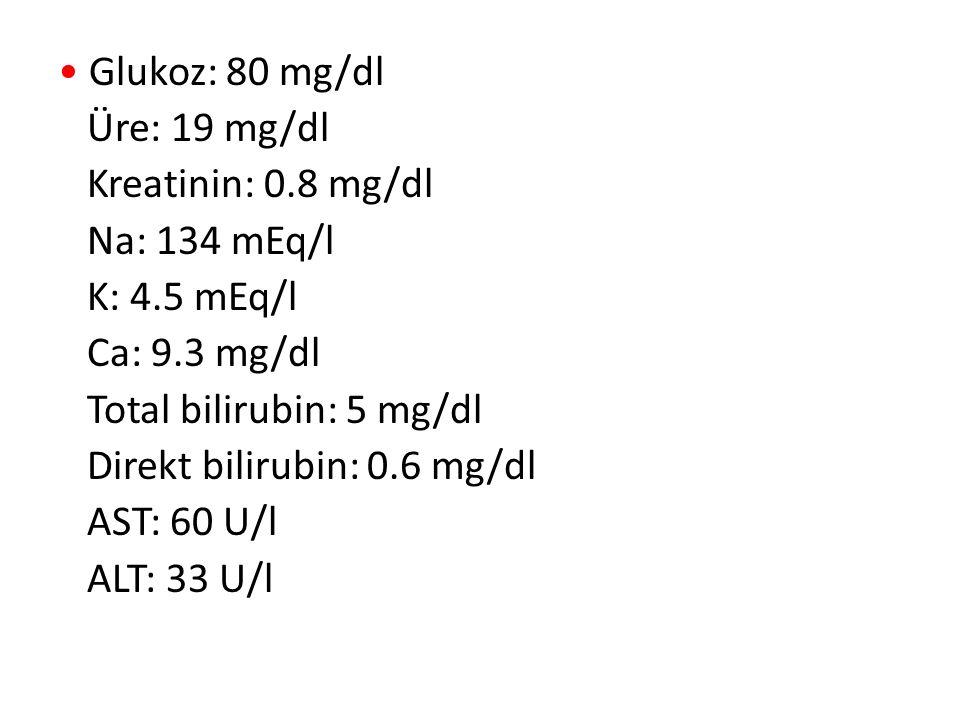Glukoz: 80 mg/dl Üre: 19 mg/dl Kreatinin: 0.8 mg/dl Na: 134 mEq/l K: 4.5 mEq/l Ca: 9.3 mg/dl Total bilirubin: 5 mg/dl Direkt bilirubin: 0.6 mg/dl AST: