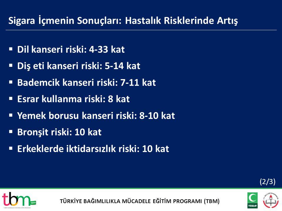 Sigara İçmenin Sonuçları: Hastalık Risklerinde Artış  Dil kanseri riski: 4-33 kat  Diş eti kanseri riski: 5-14 kat  Bademcik kanseri riski: 7-11 ka
