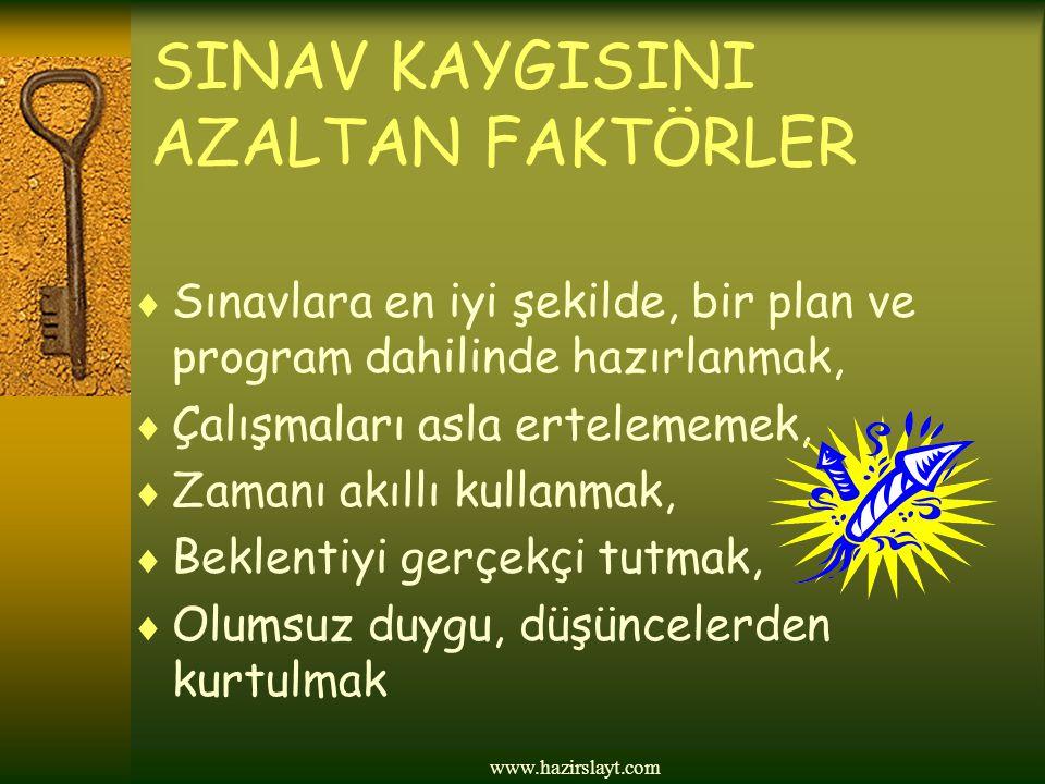 www.hazirslayt.com SINAV KAYGISINI AZALTAN FAKTÖRLER  Sınavlara en iyi şekilde, bir plan ve program dahilinde hazırlanmak,  Çalışmaları asla ertelem