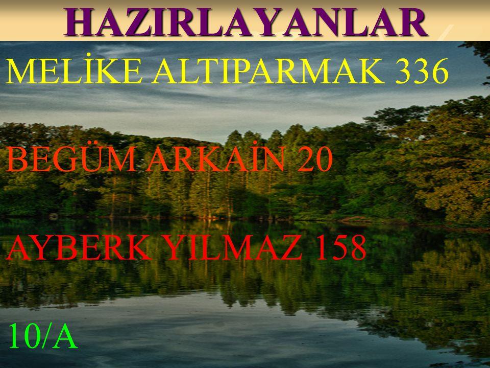 HAZIRLAYANLAR MELİKE ALTIPARMAK 336 BEGÜM ARKAİN 20 AYBERK YILMAZ 158 10/A