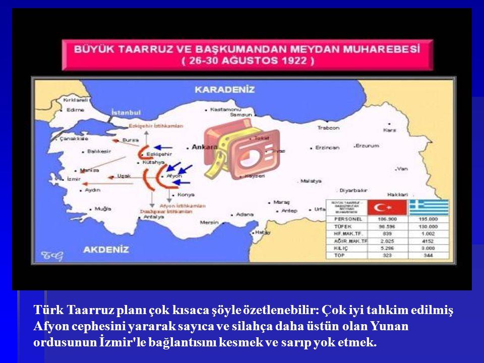 Türk Taarruz planı çok kısaca şöyle özetlenebilir: Çok iyi tahkim edilmiş Afyon cephesini yararak sayıca ve silahça daha üstün olan Yunan ordusunun İz