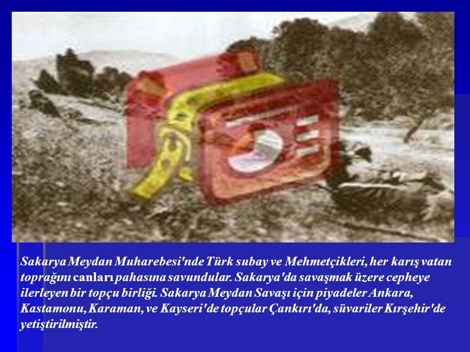 Sakarya Meydan Muharebesi'nde Türk subay ve Mehmetçikleri, her karış vatan toprağını canları pahasına savundular. Sakarya'da savaşmak üzere cepheye il