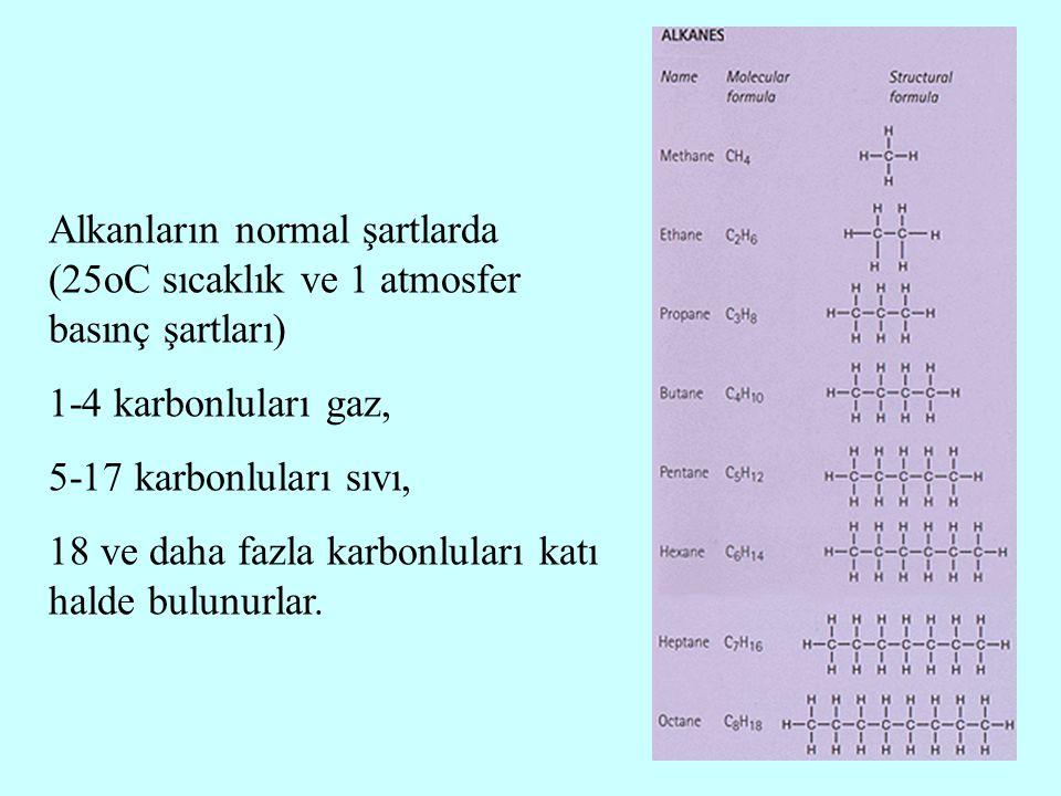 Alkanların normal şartlarda (25oC sıcaklık ve 1 atmosfer basınç şartları) 1-4 karbonluları gaz, 5-17 karbonluları sıvı, 18 ve daha fazla karbonluları