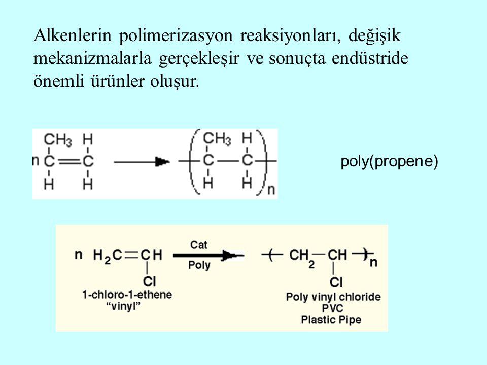 Alkenlerin polimerizasyon reaksiyonları, değişik mekanizmalarla gerçekleşir ve sonuçta endüstride önemli ürünler oluşur. poly(propene)