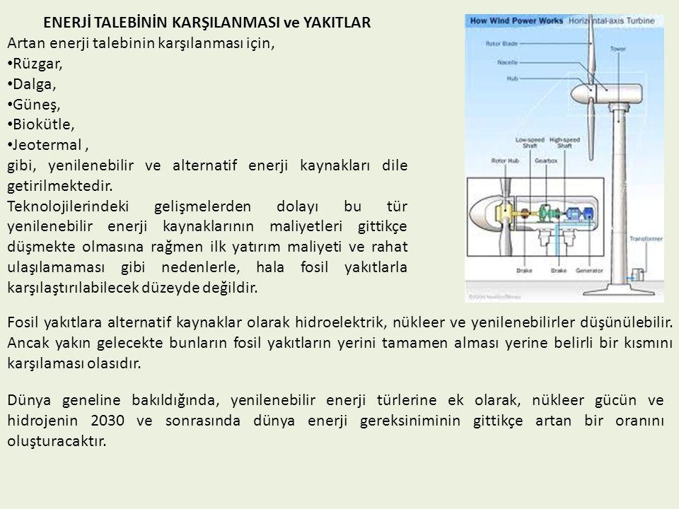 ENERJİ TALEBİNİN KARŞILANMASI ve YAKITLAR Artan enerji talebinin karşılanması için, Rüzgar, Dalga, Güneş, Biokütle, Jeotermal, gibi, yenilenebilir ve