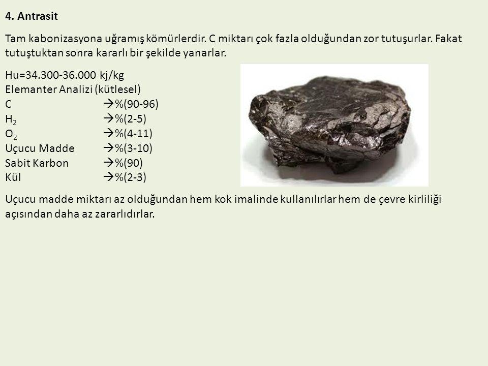 4. Antrasit Tam kabonizasyona uğramış kömürlerdir. C miktarı çok fazla olduğundan zor tutuşurlar. Fakat tutuştuktan sonra kararlı bir şekilde yanarlar