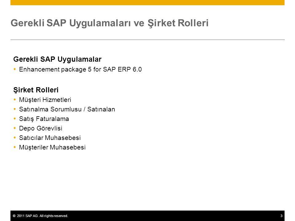 ©2011 SAP AG. All rights reserved.3 Gerekli SAP Uygulamaları ve Şirket Rolleri Gerekli SAP Uygulamalar  Enhancement package 5 for SAP ERP 6.0 Şirket