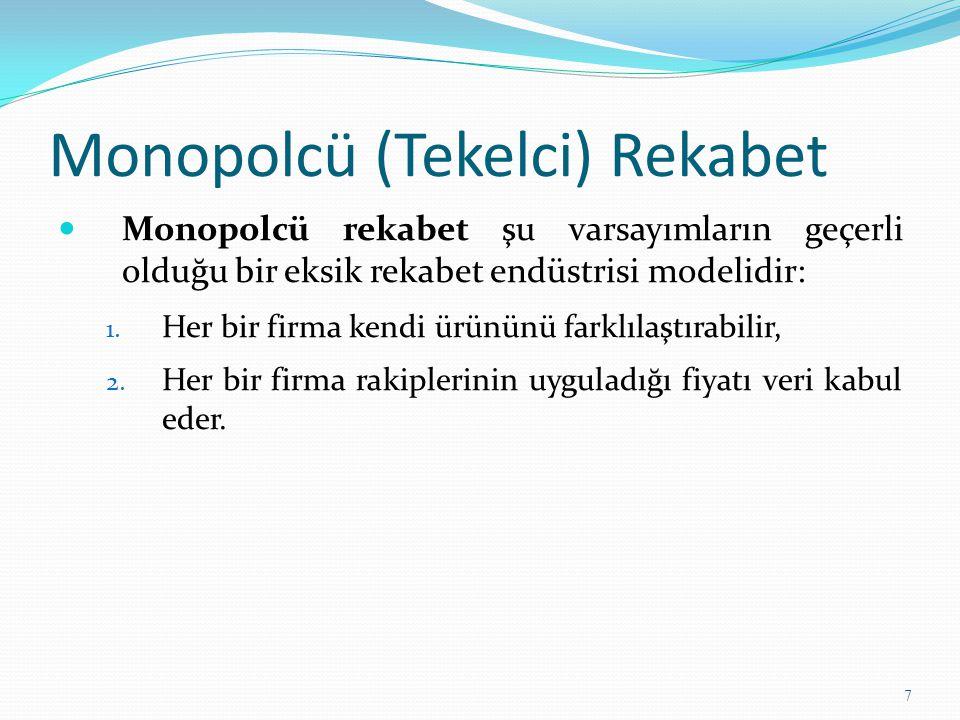 Monopolcü (Tekelci) Rekabet Monopolcü rekabet şu varsayımların geçerli olduğu bir eksik rekabet endüstrisi modelidir: 1. Her bir firma kendi ürününü f