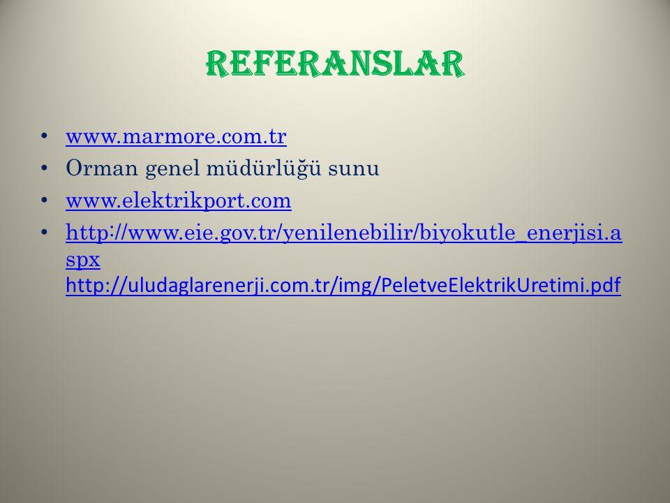 REFERANSLAR www.marmore.com.tr Orman genel müdürlüğü sunu www.elektrikport.com http://www.eie.gov.tr/yenilenebilir/biyokutle_enerjisi.a spx http://ulu