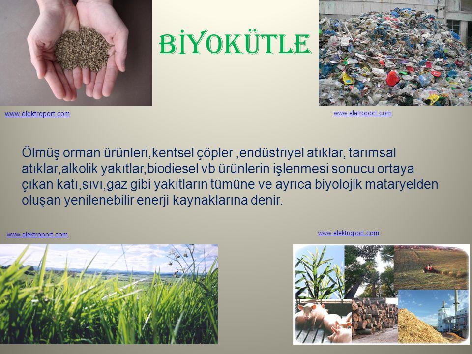 B İ YOKÜTLE Ölmüş orman ürünleri,kentsel çöpler,endüstriyel atıklar, tarımsal atıklar,alkolik yakıtlar,biodiesel vb ürünlerin işlenmesi sonucu ortaya