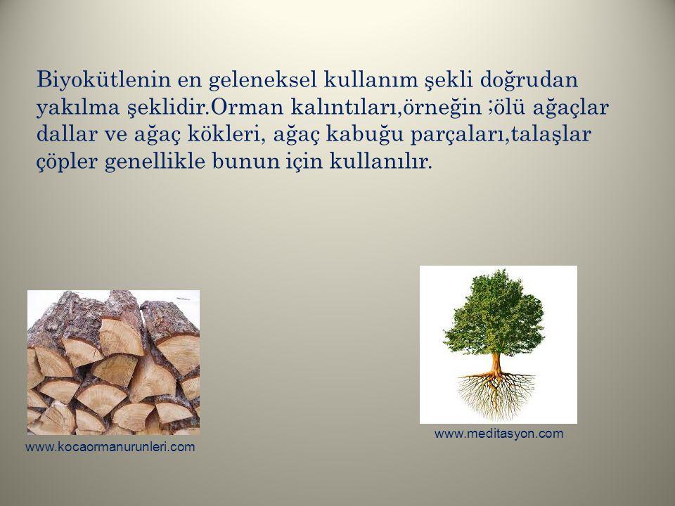 Biyokütlenin en geleneksel kullanım şekli doğrudan yakılma şeklidir.Orman kalıntıları,örneğin ;ölü ağaçlar dallar ve ağaç kökleri, ağaç kabuğu parçala