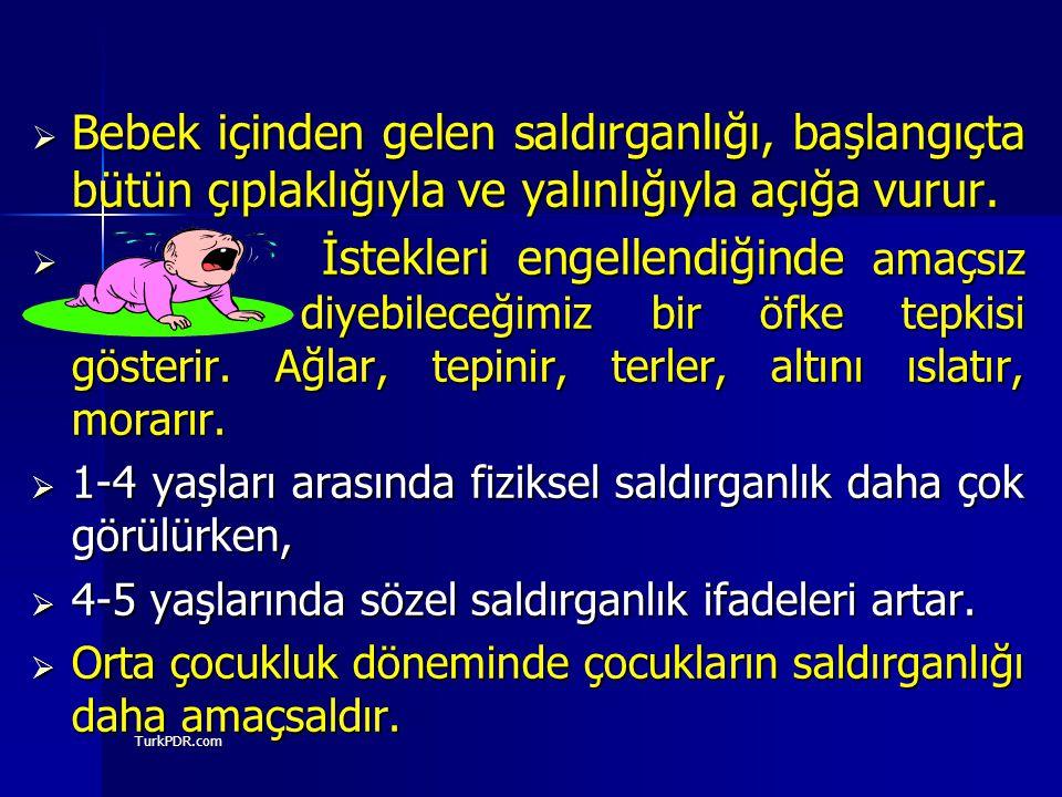 TurkPDR.com  Bebek içinden gelen saldırganlığı, başlangıçta bütün çıplaklığıyla ve yalınlığıyla açığa vurur.  İstekleri engellendiğinde amaçsız diye