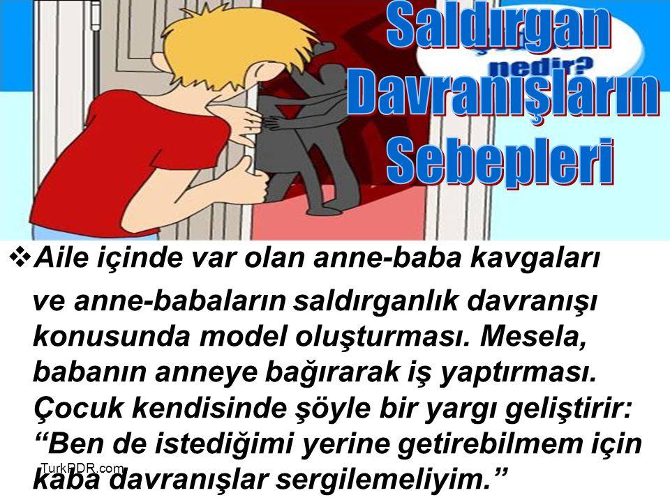 TurkPDR.com  Aile içinde var olan anne-baba kavgaları ve anne-babaların saldırganlık davranışı konusunda model oluşturması. Mesela, babanın anneye ba
